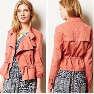 Anthropologie Hei Hei coral anorak jacket